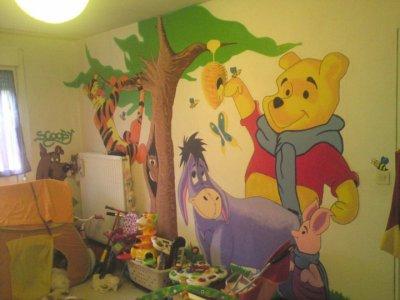 Chambre enfant fresque winnie l 39 ourson 2eme mur l k l d co cr ation - Chambre winnie l ourson aubert ...